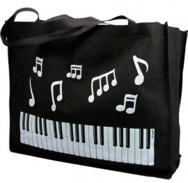 Tas met muzieknoten en pianotoetsen