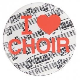 Button met tekst 'I ♥ Choir'