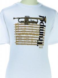 T-shirt met trompet en bladmuziek
