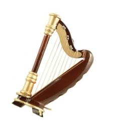 3D magneet met vergulde harp