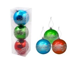 Kerstballen met notenbalk - set van 3