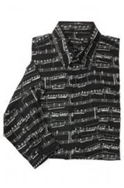 Zwart overhemd met bladmuziek