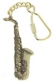 Sleutelhanger met altsaxofoon in antiek messing
