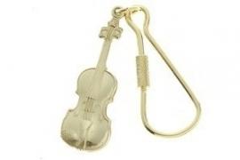 Sleutelhanger met viool in gepoetste messing