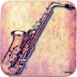 Onderzetter met saxofoon