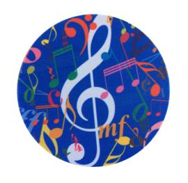 Flexibele onderzetter met muzieksymbolen lichtblauw