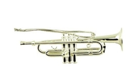 Kerstversiering trompet (zilverkleurig) 9 cm
