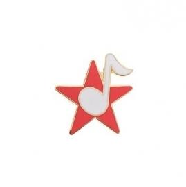 Speldje ster met achtste noot rood/wit