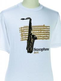 T-shirt met saxofoon en bladmuziek