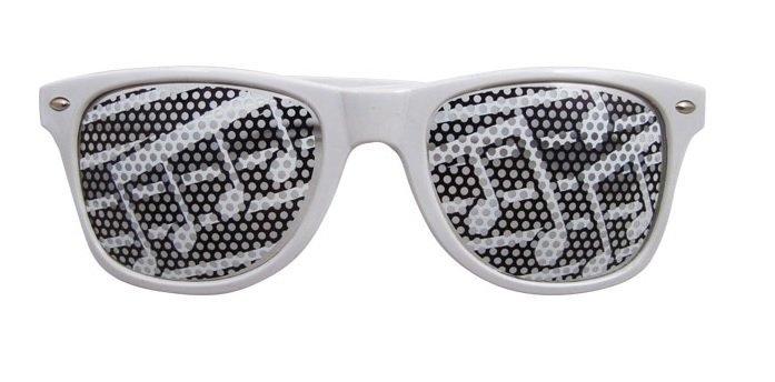 Witte zonnebril met muzieknoten