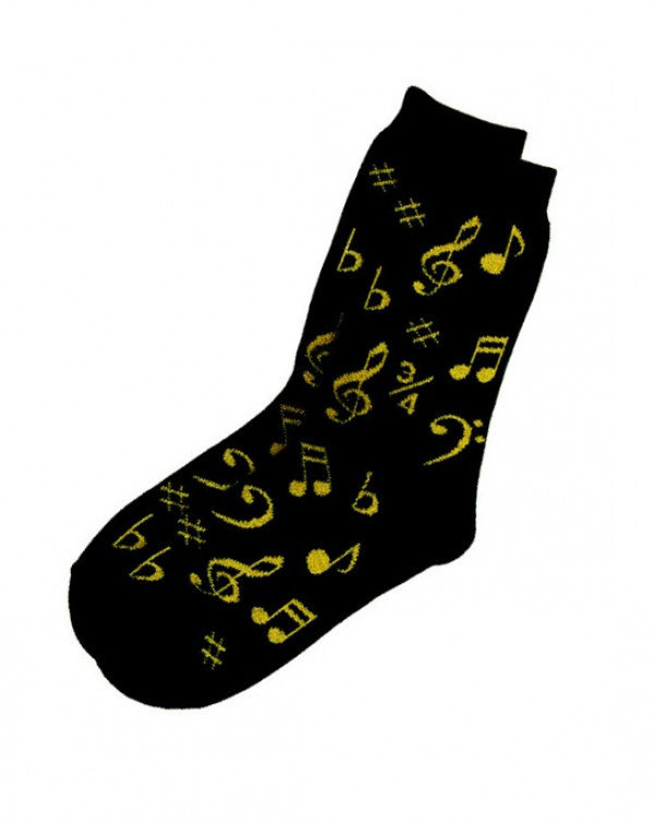 Zwarte damessokken met gouden muzieknoten