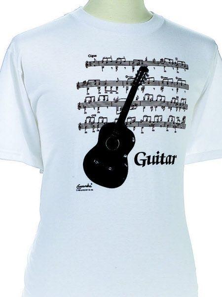 T-shirt met klassieke gitaar en bladmuziek