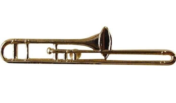 Speldje trombone verguld