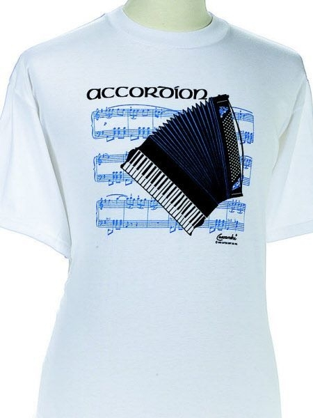 T-shirt met accordeon en bladmuziek