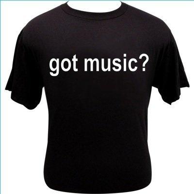 T-shirt met de tekst 'got music?'