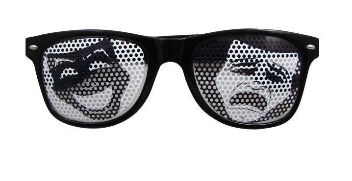 Zwarte zonnebril met komedie en tragedie