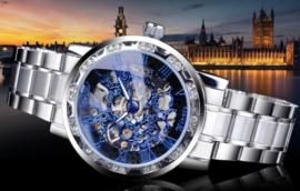 Silver stalen Mechanische Heren Horloge 'skeleton'