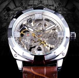 Luxe mannen horloge 'leer'staal'silver en 30mWaterproof