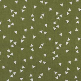 Witte triangel op groen
