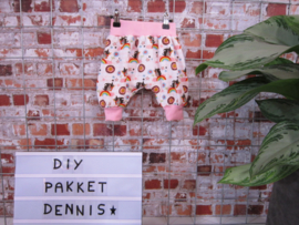 DIY pakket Dennise dubbelzijdig broekje  eenhoorn licht roze