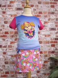 Paw Patrol DIY set Skye blauw T-shirt roze Linda rok