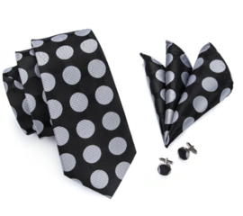 Stropdas set Black Silver dots