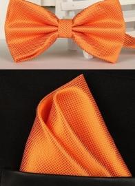 Vlinderstrik met pochet oranje