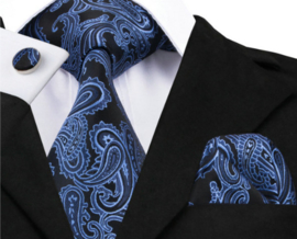 Stropdas set met pochet en manchetknopen dark blue lightblue paisley