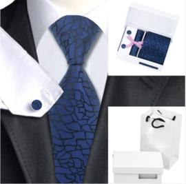Luxe stropdas set Black Darkblue crinkle