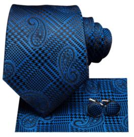 Stropdasset met pochet en manchetknopen blauw zwart