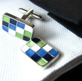 Manchetknoop blauw groen square