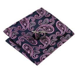 Luxe stropdasset met pochet en manchetknopen paisley purple