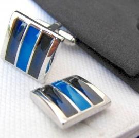Manchetknoop stripes blue