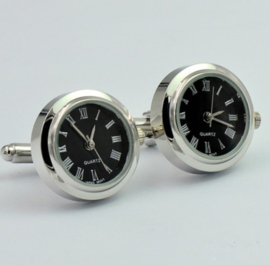 Luxe manchetknopen Clock zwart