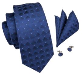 Stropdas set dark blue block