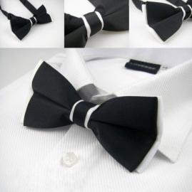 Luxe vlinderstrik Jason & Vogue zwart wit