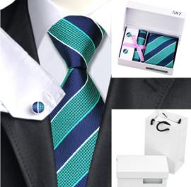 Luxe stropdas set in Navy en zeegroen
