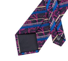 Stropdas met pochet en manchetknopen black purple blue