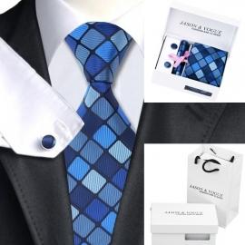 Stropdas set met manchetknopen en pochet Darkblue Square