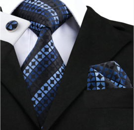 Stropdas set in blauw zwart diagonaal design