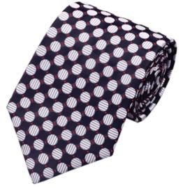 Stropdas zwart rood en zilvergrijze dots
