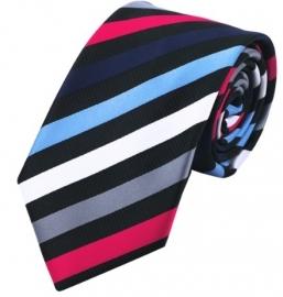 Stropdas set met manchetknopen en pochet  Zwart Blauw  Rood