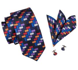 Stropdas set colourfull rectangle