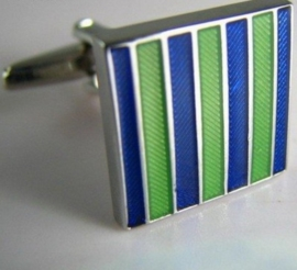 Manchetknoop Blue Green stripes