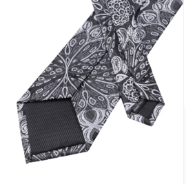 Stropdas set zwart grijs Floral