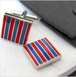 Manchetknoop blauw en rood ingelegd