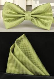 Vlinderstrik met pochet zacht groen