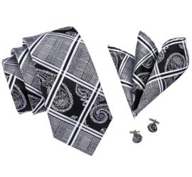 Luxe stropdas setzwart zilvergrijs wit