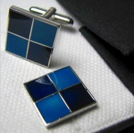 Manchetknoop 2 blue square