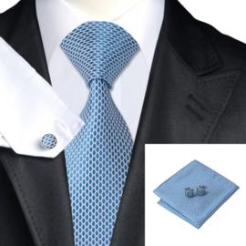 Stropdas set met manchetknopen en pochet blue white Hexa